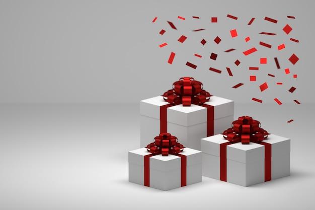 Festliche geschenke, geschenke mit fallenden roten konfetti und schachteln mit roten, seidig glänzenden schleifen