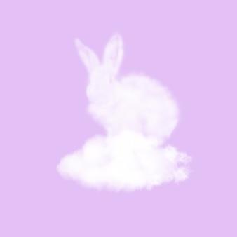Festliche karte mit flauschigem osterkaninchen aus weißer wolke auf einer pastellfarbenen lavendeloberfläche, kopienraum. glückwunsch frohe osterkarte.