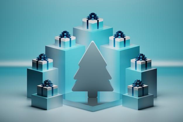 Festliche komposition mit weihnachtsbaum und vielen geschenkboxen mit glänzend blauen schleifen auf sockeln