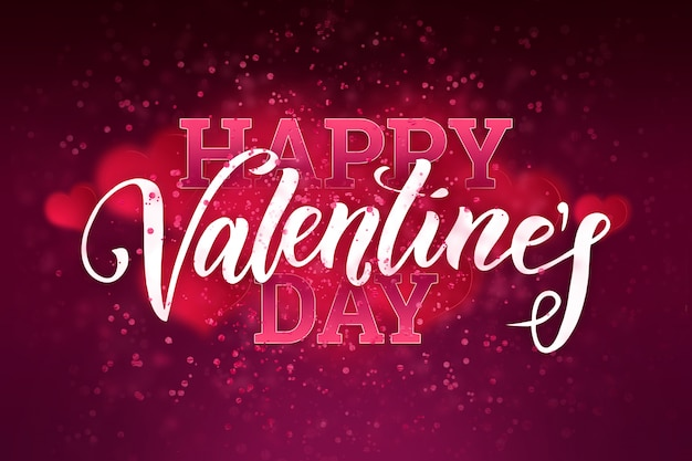 Festliche netzfahne des glücklichen valentinstags mit rosa herzen.