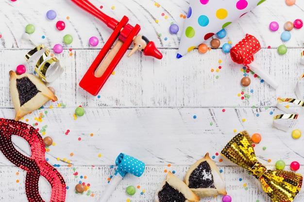 Festliche party, karneval oder purim party frame hintergrund