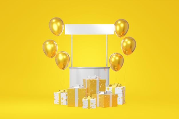 Festliche stand promotion lager weißen geschenkbox modell, gold ballon gelben hintergrund. verkauf von werbegeschäften. konzept schwarzer freitag, weihnachten, neues jahr. 3d-rendering