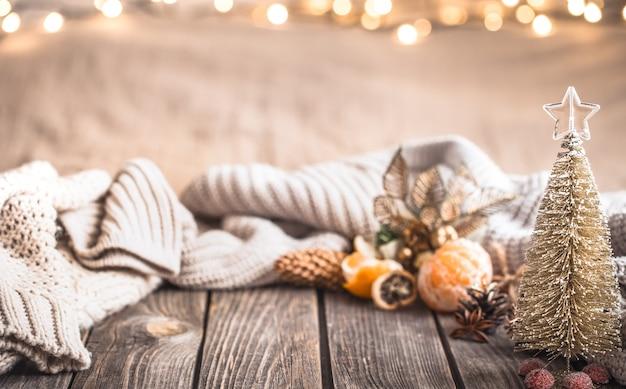 Festliche weihnachts gemütliche atmosphäre mit wohnkultur