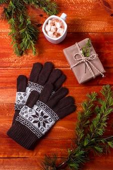 Festliche weihnachtsanordnung der draufsicht