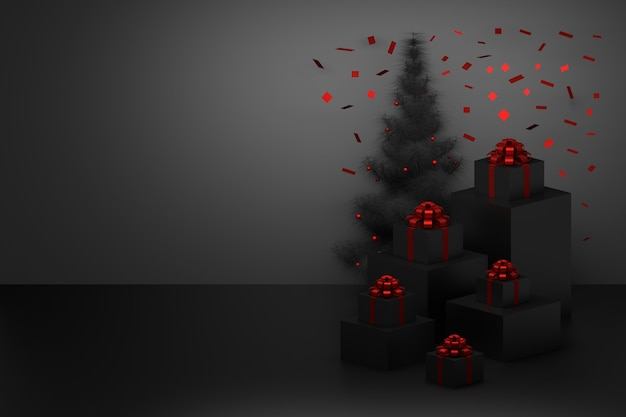 Festliche weihnachtskomposition mit schwarzem weihnachtsbaum und geschenken