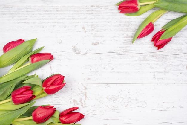 Festlicher hintergrund der weißen holzoberfläche mit rahmen der roten tulpen.
