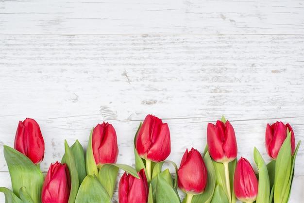 Festlicher hintergrund der weißen holzoberfläche mit rahmen der tulpen.