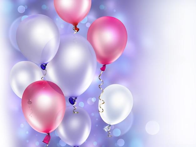 Festlicher hintergrund mit rosa und lila luftballons
