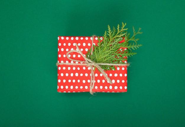 Festlicher hintergrund, rote geschenkbox in tupfen mit band und schleife und thuja-zweigen auf einem grün