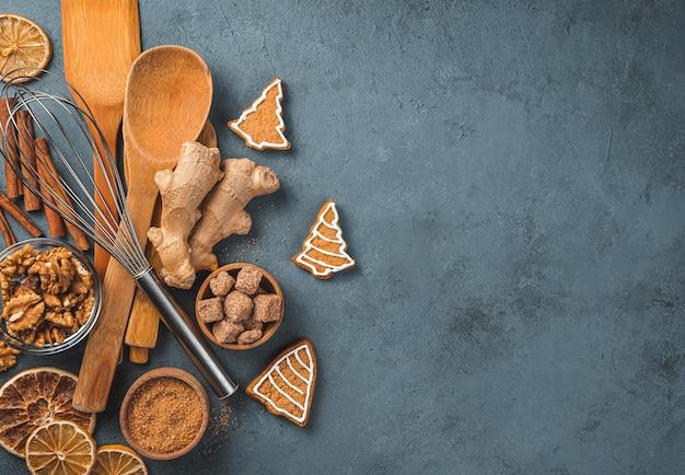 Festlicher kulinarischer hintergrund das konzept von weihnachten und neujahr draufsicht
