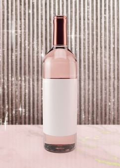 Festlicher roséwein auf rosa hintergrund