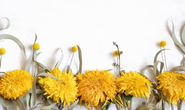 Festlicher weißer flacher hintergrund mit sonnenblumen und craspediablumen, kopienraum.