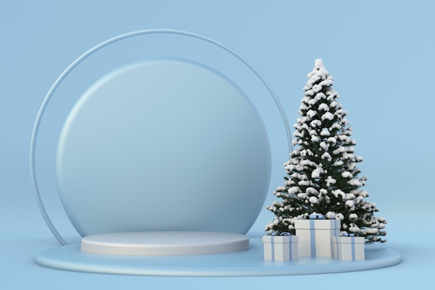 Festlicher winter neujahr3d-komposition blaues podium festliche vorlage schneebedeckter weihnachtsbaum