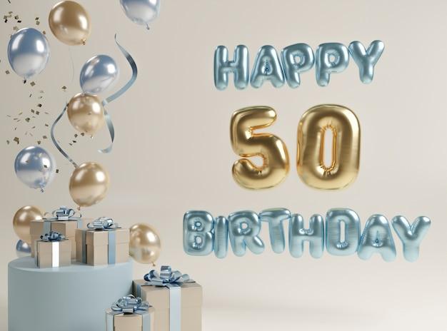 Festliches 50. geburtstagssortiment mit luftballons
