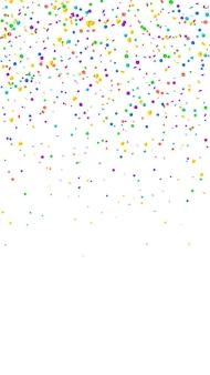 Festliches beliebtes konfetti. stars zum feiern. helles konfetti auf weißem hintergrund. große festliche overlay-vorlage. vertikaler vektorhintergrund.