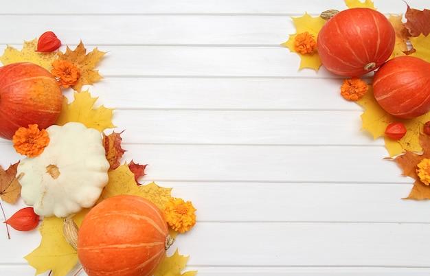 Festliches herbstdekor aus kürbissen und ahornblättern auf weißem holzhintergrund. konzept von thanksgiving oder halloween. flache herbstkomposition mit kopienraum.