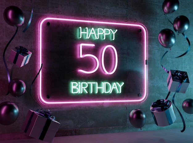 Festliches neon-arrangement zum 50. geburtstag