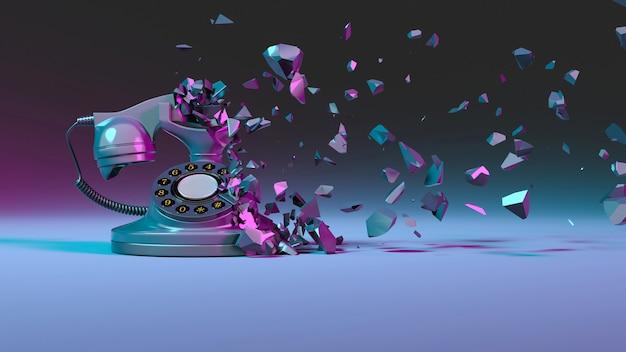 Festnetztelefon in der lila neonbeleuchtung, die in kleine teile, 3d illustration fällt