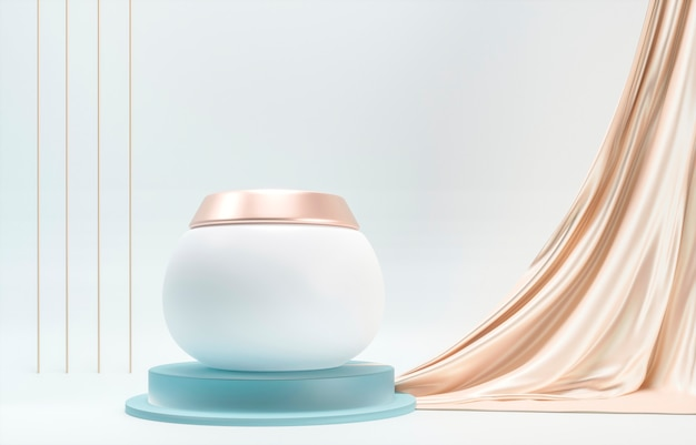 Feuchtigkeitsspendende cremetube, lotionsglas mit glattem, zartem, goldenem vorhangstoff