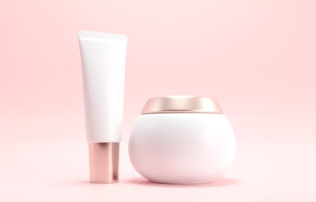 Feuchtigkeitsspendendes cremegel in einem glas, tube auf einem zarten rosa hintergrund
