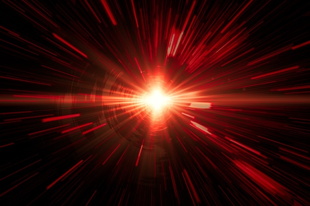 Feuer-laser-rotlicht, das das schnellste hochgeschwindigkeitskonzept bewegt, beschleunigung superschnelles schnelles laufwerk bewegungsunschärfe abstrakt für hintergrunddesign.
