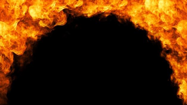 Feuerfeld auf schwarzem hintergrund