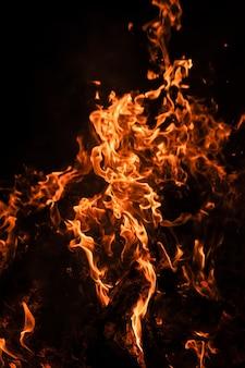 Feuerfeuer in der nacht. feuerflammen auf einem schwarzen hintergrund