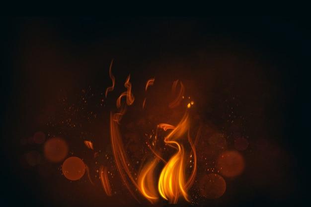 Feuerflamme im schwarzen hintergrund