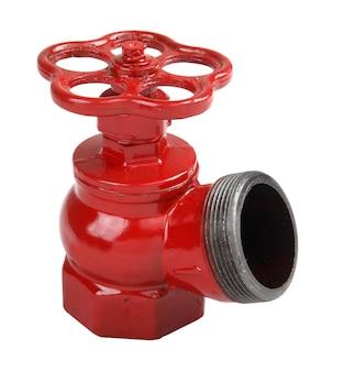 Feuerlöschgeräte, eines isoliert auf weißem grund, feuerventil aus gusseisen, rot lackiert, schräges hydrantenventil für den innenbereich.