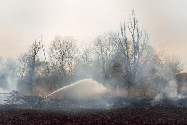 Feuerwehrleute sprühen hochdruckwasser, um mit kopierraum zu schießen, großes lagerfeuer im training, feuerwehrmann trägt einen feueranzug zur sicherheit unter dem gefahrenfall.