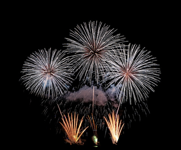 Feuerwerke, feuerwerke beleuchten den himmel, feierfeuerwerke des neuen jahres