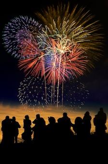 Feuerwerksfeier und der twilight himmelhintergrund