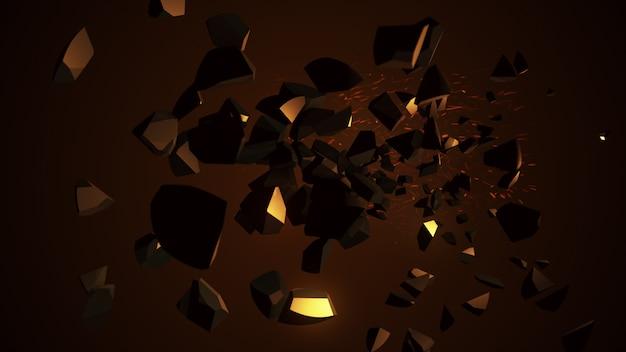 Feuriger laser, der die kugel 3d illustration zerstört