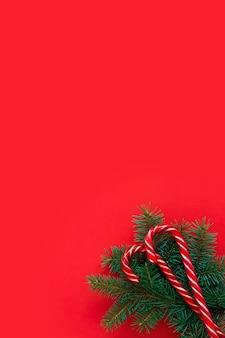 Fichtenzweige und bonbons auf rotem grund. flache lage, draufsicht, kopierraum, diagonale. weihnachtskonzept, feiertagspostkarte. modernes, trendiges design