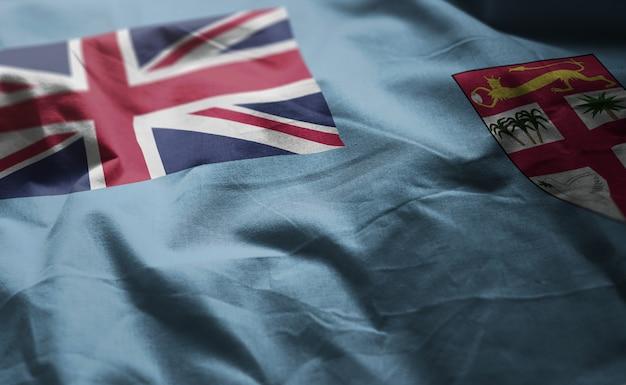 Fidschi-flagge zerknittert nah oben