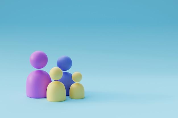 Figuren von holzmännern familie 3d-render-illustration