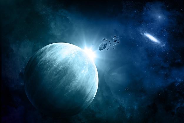 Fiktiver raumhintergrund mit meteoriten