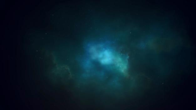 Filmischer hintergrund mit wolken und sternen in galaxie und lichteffekt. luxuriöser und eleganter 3d-illustrationsstil des kinothemas