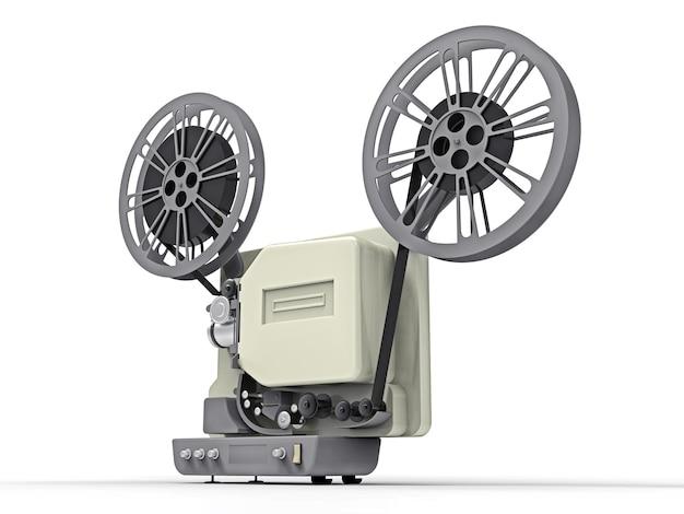 Filmprojektor des kinos 3d lokalisiert auf weißem hintergrund. 3d-rendering.