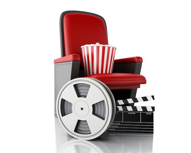 Filmrolle 3d, popcorn und kino-klöppelbrett auf theatersitz.
