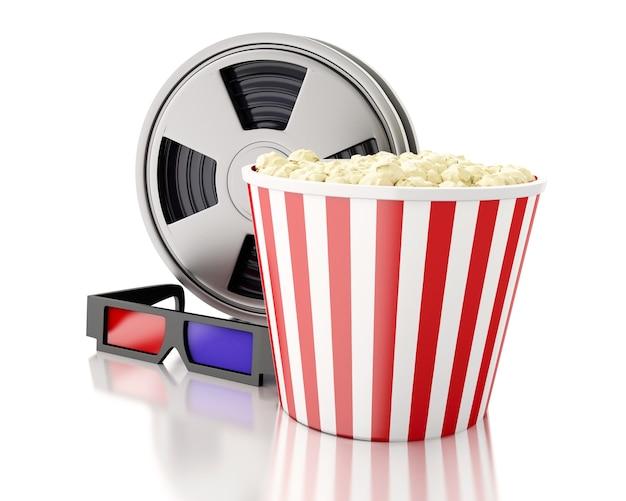 Filmspule und popcorn des filmes 3d.