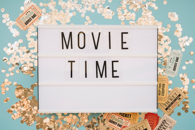 Filmzeichen mit konfetti