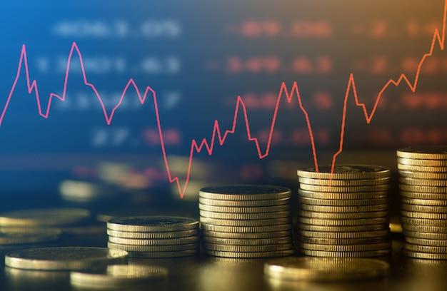 Finanz- und geschäftskonzepthintergrund und forex-handelsdiagramm mit wirtschaftstrendsgeschäft