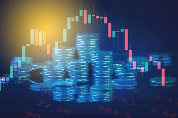 Finanz- und geschäftskonzepthintergrund und forex-handelsdiagramm