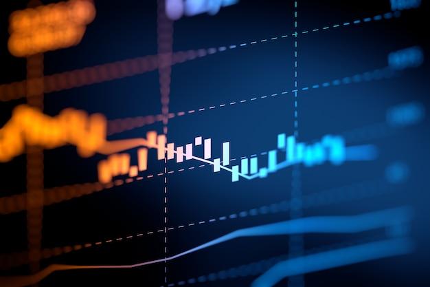 Finanzdiagramm auf abstraktem hintergrund der technologie