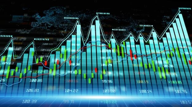 Finanzielle investitions- und handelstrends mit digitalen daten finanzdiagramm
