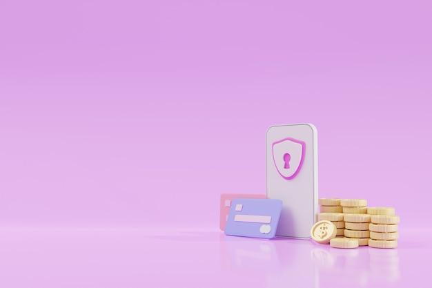 Finanzielle sicherheit, online-zahlungsschutz, online-transaktion, online-banking und geldsparkonzept. handy-bank. elektronische geldbörse, münzen, kreditkarte, 3d-darstellung