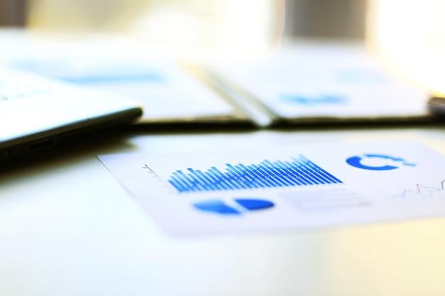 Finanzmanagementdiagramme in einer blauen unternehmensfarbe