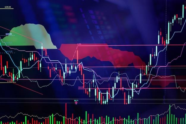 Finanzmarktdiagramm diagramm des börsegeschäftsmarkt-investitionshandelsbildschirmes