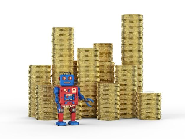 Finanztechnologiekonzept mit 3d-rendering-roboter mit stapel von goldmünzen